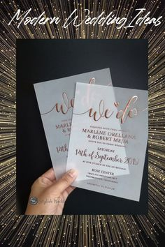 unique custom rose gold silver foil vellum wedding invitations SWFI019 #wedding#weddinginvitations#stylishwedd#stylishweddinvitations #vellumweddinginvitations