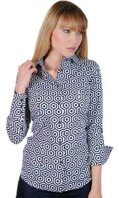 Chemisier femme imprimé noir et blanc motifs rétro seventies forme géométrique