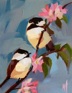 Two Chickadees no. 80 original bird and flower oil painting by Angela Moulton 8 x 10 inch on canvas ready to ship June 1