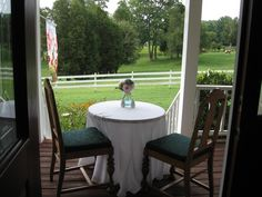 Breakfast out on the front wrap around porch at Dewberry Farm.