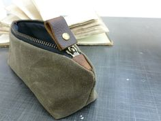 back to school sale Waxed canvas pencil pouch/small pouch with zipper in brown (oak)