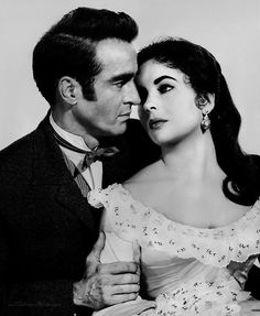 Montgomery Clift and Elizabeth Taylor in 'Raintree County', 1957.
