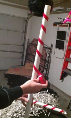 icu ~ Pin on Candyland Party ~ Candy Cane Lane - pvc pipes, red electrical tape. Once made, you can use as a border and string lights across them for 'Peppermint Forest' Gingerbread Christmas Decor, Candy Land Christmas, Outside Christmas Decorations, Christmas Yard, Office Christmas, Christmas Projects, Simple Christmas, Christmas Lights, Christmas Holidays