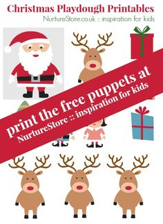 Free printable Father Christmas puppet set ~ great for imaginary play and story telling | Santa printable :: Christmas printable for kids