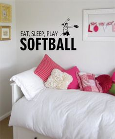 Eat Sleep Play Softball The latest in home decorating. Beautiful wall vinyl decals, that are simple to apply, are a great accent piece for any room, come in an array of colors, and are a cheap alterna
