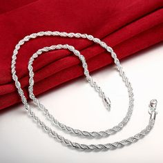 Trendy 925 Silver necklaces Charm Twisted Necklaces Chains For Men Jewelry N067