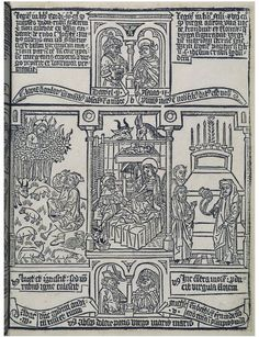 Biblia Pauperum from the V&A Collections, 15th century. The letters are carved into the block, too.