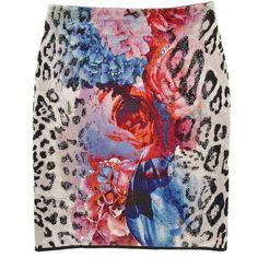 MARC CAIN Azalea Leopard Print Skirt ($145) ❤ liked on Polyvore