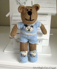 Kids  Holiday Knitted Toy Teddy Bear Stuffed Animal Christmas Bear Hand Knit Bear Slippers Kids Toy Childrens Toys Bear Pajamas Sebastian. $59.00, via Etsy.