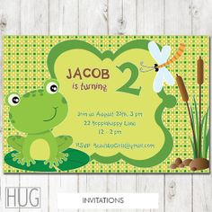 Set of 12 Personalized Green Frog Birthday Party Invitations by HeadsUpGirls, $18.00 Frog Birthday Party, Baby First Birthday, First Birthday Parties, 5th Birthday, Birthday Party Invitations, First Birthdays, Green Frog, Childrens Party, Holidays And Events