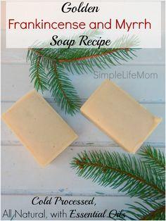A Handmade Golden Frankincense and Myrrh soap recipe. Lye, cold process soap using turmeric for color. Great Christmas soap recipe for Christmas gift idea.