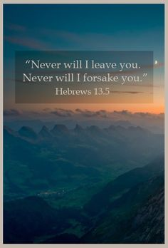 Hebrews 13:5 ~ Never will I Ieave you never will I forsake you....