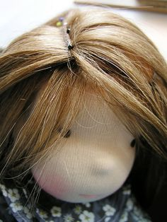How to weft a homemade felt wig cap for Waldorf doll or any doll. Mohair_wig_parted_29 | by Lalinda.pl