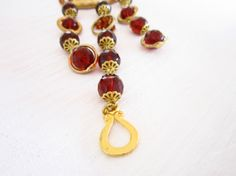 Necklace of Czech crystals in brown and gold by JewelryNeshElly, $21.00