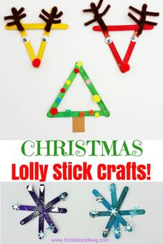 Popsicle stick crafts for kids. Lolly stick crafts for children. Christmas activities for children to do - easy lolly stick christmas craft.