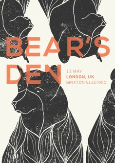 Bear's Den Tour Poster (Leidinger, 2014) This poster uses repetition well, with the repetition of the bear in a way that is almost reminiscent of lino-cut printing. I think it also uses asymmetry in an interesting way, and the fact that it is neither vertically or horizontally symmetrical creates a point of interest. Good colour choices have been made as the red text contrasts well with the black and white background