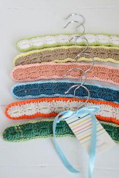Crochet baby hangers pattern by Yvestown. The small version of the Dottie Angel hanger pattern.