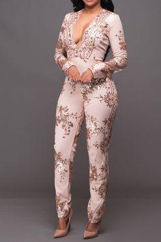 V Neck Long Sleeve Sequined Jumpsuit_Jumpsuits_Bottoms_Dress Top Swimsuit Bottom Skirt Jumpsuit Romper