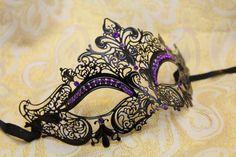 Gorgeous Laser Cut Venetian Mardi Gras Masquerade Mask with Sparking Purple Rhinestones on Etsy, $32.95