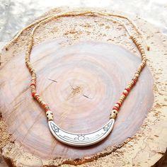 Tribal Necklace, Ceramic Jewelry, Moon necklace, Ethnic jewelry, Southwest jewelry, Traditional jewelry, Pendant necklace, Witch jewelry,