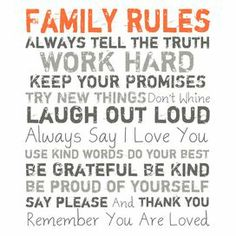 Family Rules Canvas Giclee Print in Orange & Gray