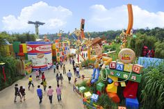 A more broad look at Toy Story Land in Hong Kong Disneyland.