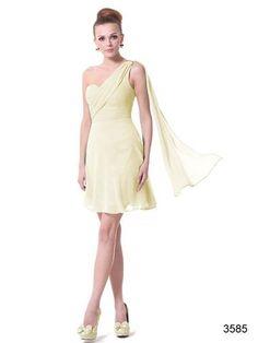 Ever Pretty One Shoulder Chiffon Short Bridesmaid Dress /Party Yellow Bridesmaid Dresses, One Shoulder Bridesmaid Dresses, Bridesmaids, Goddess Dress, Ever Pretty, Evening Dresses, Formal Dresses, Yellow Dress, Chiffon Dress