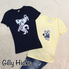 Gilly Hicks T-Shirt Bundle  Like New 2- size small t-shirts. No flaws. Excellent condition, yellow and navy blue full length...blue is folded in half for photos Gilly Hicks Tops Tees - Short Sleeve