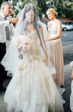 Pallas Couture wedding dress and cathedral length veil | Natasja Kremers Photography | see more on: http://burnettsboards.com/2014/09/glamorous-wedding-cutest-flower-girls/
