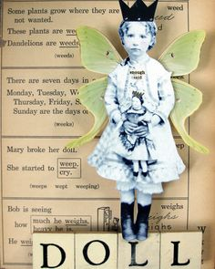 """Enough Said"" Doll by stephanie rubiano Paper Collage Art, Paper Art, Diy Paper, Altered Books, Altered Art, Paper Dolls, Art Dolls, Magazine Collage, Altered Images"