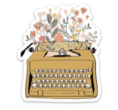 Go ahead and write your beautiful story including this sweet typewriter spitting out pretty flowers.FREE SHIPPING*Designed, manufactured, and printed in the USA.Please note the dimensions below - this will be the exact size of the sticker you receive.Size (inches):2.56 x 3.0Our stickers are made from a durable vinyl laminate that resists scratching, heat, water and sunlight. You can even put them in the dishwasher and they'll still be perfect.• 100% satisfaction guaranteed• Removable… Preppy Stickers, Cute Laptop Stickers, Cool Stickers, Funny Stickers, Printable Stickers, Journal Stickers, Scrapbook Stickers, Planner Stickers, Notebook Stickers