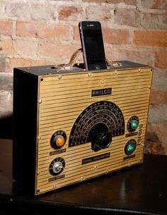 ipod iphone charging station with speakers from vintage test equipment