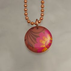 Handmade Copper Flower Charm Pendant Necklace Upcycled Repurposed Penny- Retro Pink - Womens Jewelry. $8.00, via Etsy.