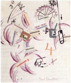 Kurt Schwitters,  Untitled (With Red 4) ,  Collage, pen, pencil, ink and paper on paper