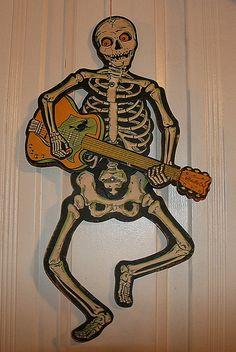 1966 Beistle 'A Go Go Skeleton' Jointed Hanging Decoration. Halloween Skeleton Decorations, Halloween Artwork, Halloween Lanterns, Halloween Items, Halloween Photos, Halloween Skeletons, Halloween Skull, Holidays Halloween, Happy Halloween