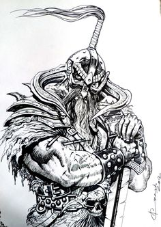 Viking Ink drawing, Started this about six months ago after watching Pathfinder. Thor Drawing, Warrior Drawing, Warrior Tattoos, Viking Tattoos, Viking Art, Viking Warrior, Dark Fantasy Art, Fantasy Artwork, Viking Drawings