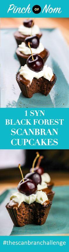 1 Syn Black Forest Scan Bran Cupcakes | Slimming World - http://pinchofnom.com/recipes/1-syn-black-forest-scan-bran-cupcakes-slimming-world/