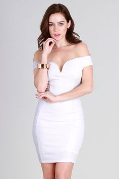 52776d35426 Kendall White Off Shoulder Sweetheart Dress Kendall White