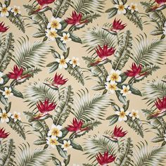 "Maunawili design in color natural on base cloth of 100% cotton bark crepe. Repeat H-25.5""; V-23.25"