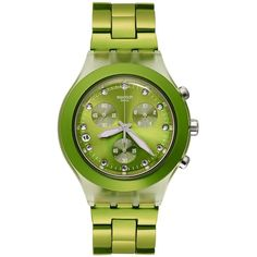 Swatch Watch, Unisex Swiss Chronograph Full-Blooded Lime Green PVD Aluminum Bracelet 43mm SVCK4071AG $160