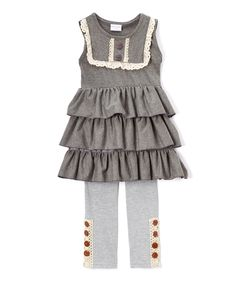 Love this Gray & Blue Lace Ruffle Dress & Leggings - Infant, Toddler & Girls by Ruffles by Tutu AND Lulu on #zulily! #zulilyfinds