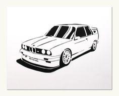 Classic Car Print BMW E30 M3 van ManualDesigns op Etsy