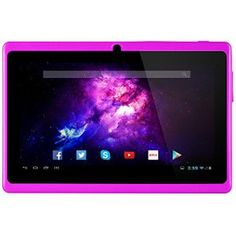 Alldaymall A88X Tablette tactile 7 pouces – Android 4.4, Quad Core, 1024×600 HD, double caméra, Bluetooth, Wi-Fi, 8GB, jeux 3D pris en…
