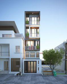 thiet-ke-nha-pho-4-tang-50m2-tan-binh Duplex House Design, House Front Design, Small House Design, Condominium Architecture, Space Architecture, Building Design, Building A House, Modern Exterior House Designs, Carriage House Plans