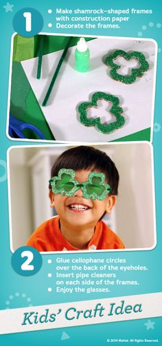 Celebrate St. Patrick's Day by turning the whole world green with these magic leprechaun glasses the kids can make themselves! #Crafts #Activity