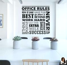 Motivational Office Wall Decal Office Rules Word Collage is a motivational decoration for your Office or Break Room to promote Teamwork and Employee Motivation. Vinyl Wall Lettering - wide x high Office Wall Design, Office Wall Decals, Dental Office Design, Office Walls, Office Interior Design, Office Interiors, Home Interior, Office Designs, Gray Interior
