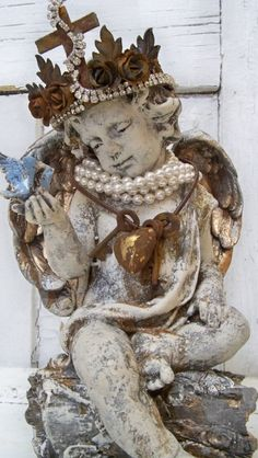 Angel cherub statue elaborate hand made crown by AnitaSperoDesign, $270.00