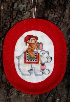 Cross Stitched Christmas Polar Bear Ornament with Felt Border by ChoctawRidgeDesigns on Etsy