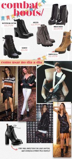 No São João, as combat boots chegam para dar um merecido descanso às botas tipo montaria ou Chelsea; é um toque que atualiza o look na hora, seja com camisa xadrez, saia de couro, vestido (fica legal pra deixar até mesmo um modelo junino típico mais fashion)… as combinações são infinitas, inclusive no dia a dia Basic Outfits, Kpop Outfits, Jean Outfits, Dress Outfits, Casual Outfits, Cute Outfits, Looks Style, Casual Looks, My Style