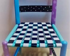 Hand Painted Whimsical Kids Wooden Chair Signed Will Personalize